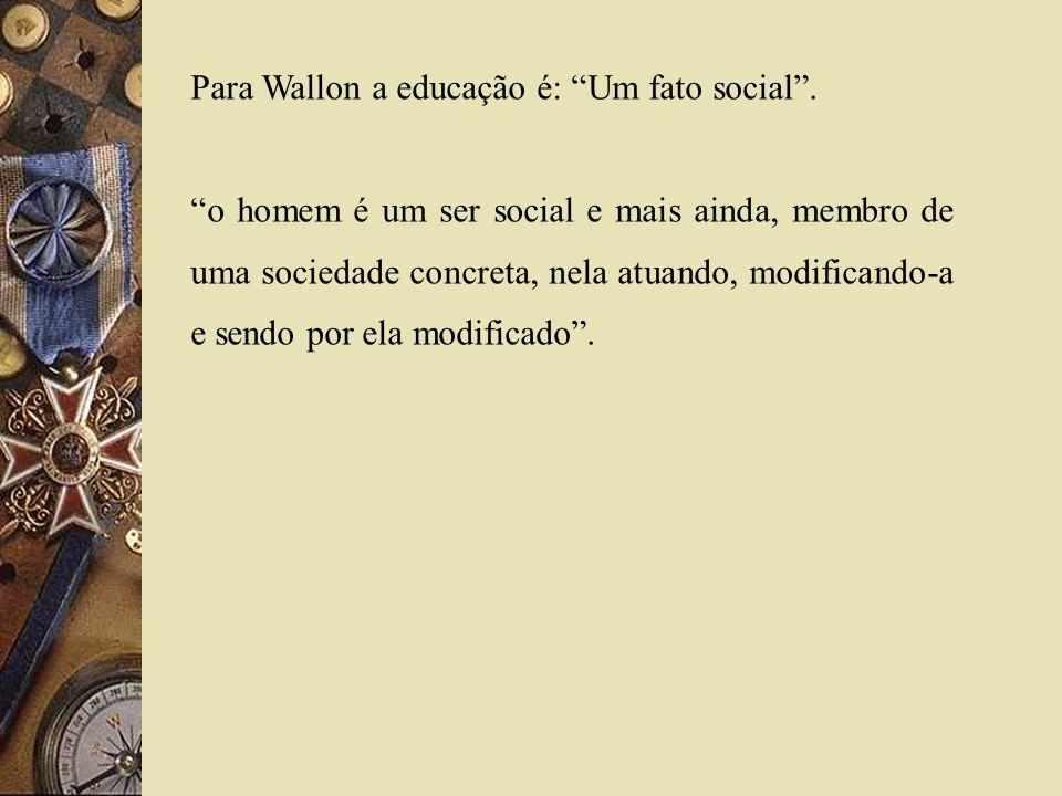 Para Wallon a educação é: Um fato social .