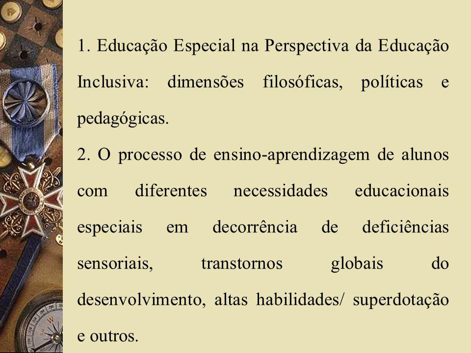 1. Educação Especial na Perspectiva da Educação Inclusiva: dimensões filosóficas, políticas e pedagógicas.