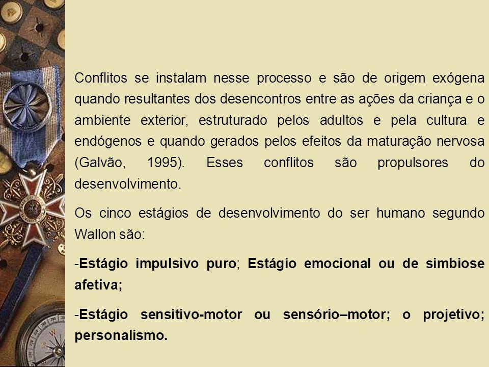 Os cinco estágios de desenvolvimento do ser humano segundo Wallon são: