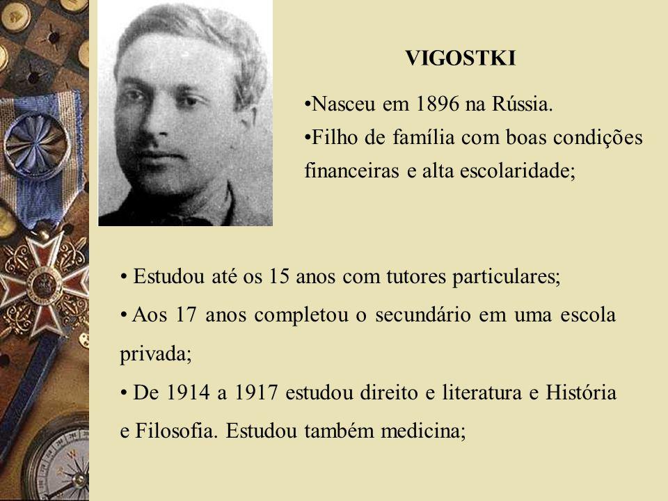 VIGOSTKI Nasceu em 1896 na Rússia. Filho de família com boas condições financeiras e alta escolaridade;
