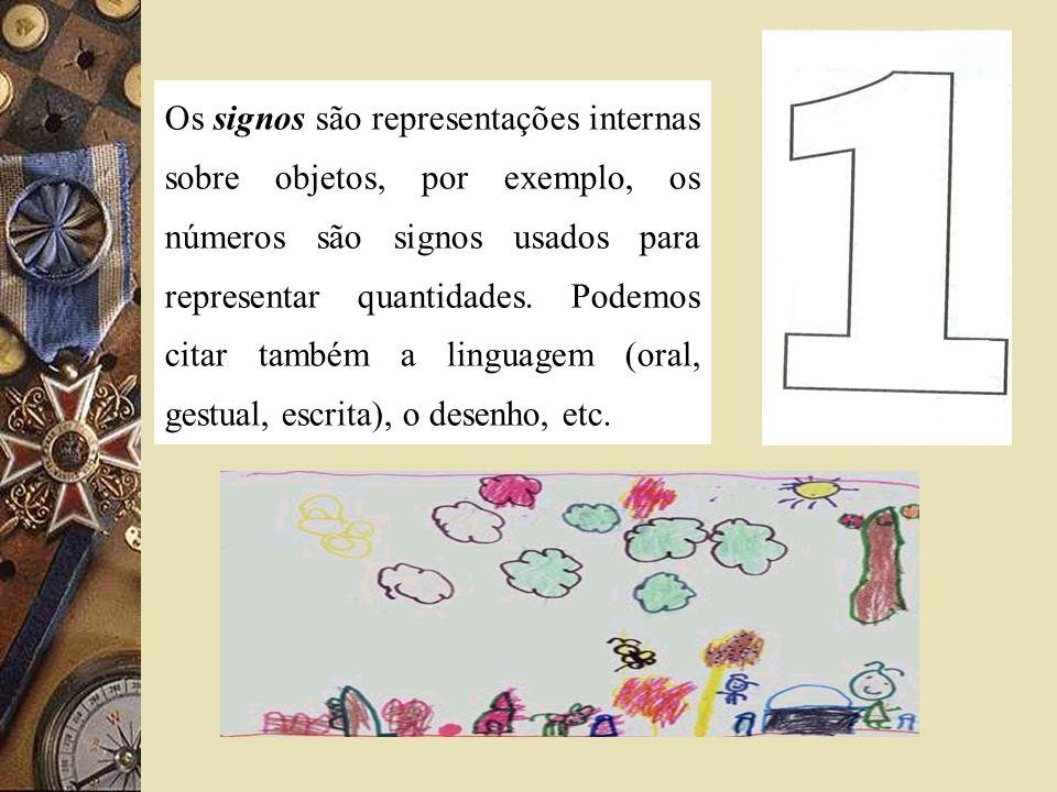 Os signos são representações internas sobre objetos, por exemplo, os números são signos usados para representar quantidades.