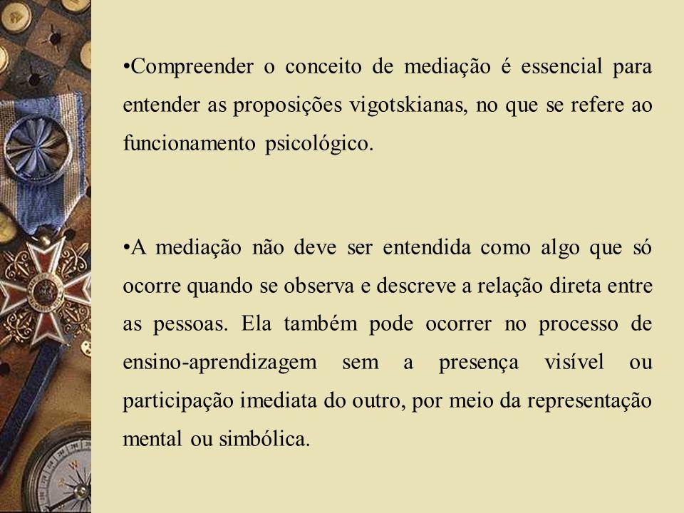 Compreender o conceito de mediação é essencial para entender as proposições vigotskianas, no que se refere ao funcionamento psicológico.