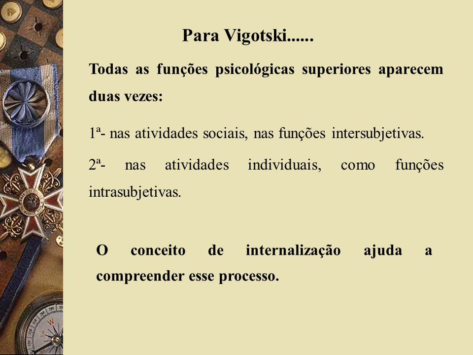 Para Vigotski...... Todas as funções psicológicas superiores aparecem duas vezes: 1ª- nas atividades sociais, nas funções intersubjetivas.