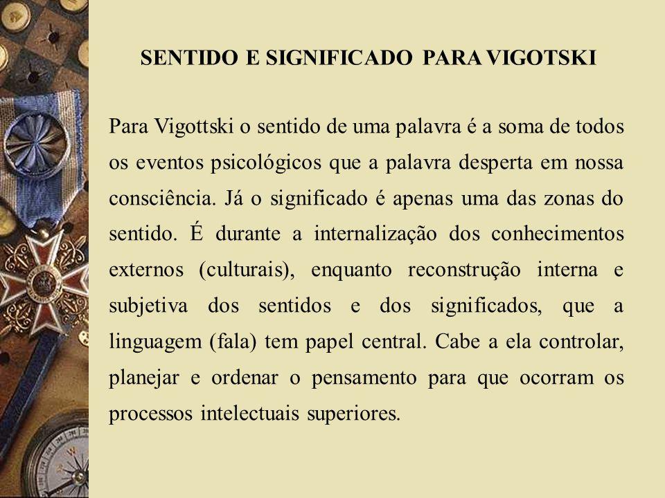SENTIDO E SIGNIFICADO PARA VIGOTSKI
