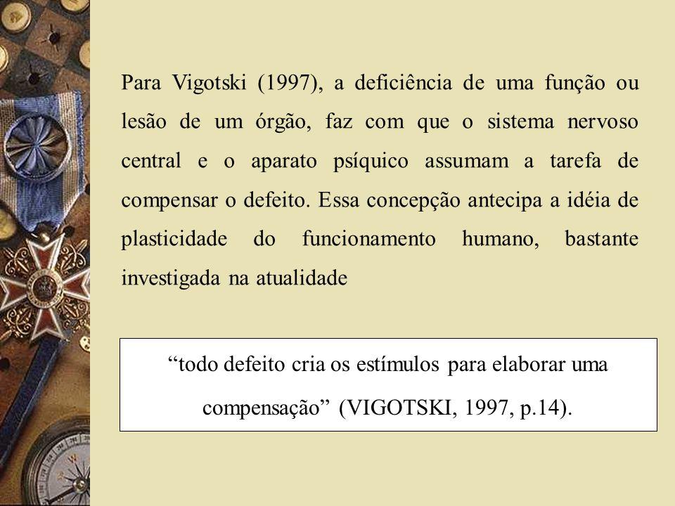 Para Vigotski (1997), a deficiência de uma função ou lesão de um órgão, faz com que o sistema nervoso central e o aparato psíquico assumam a tarefa de compensar o defeito. Essa concepção antecipa a idéia de plasticidade do funcionamento humano, bastante investigada na atualidade