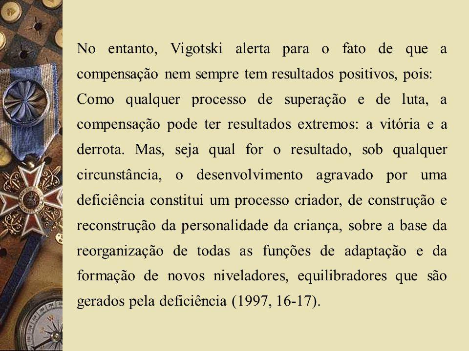 No entanto, Vigotski alerta para o fato de que a compensação nem sempre tem resultados positivos, pois:
