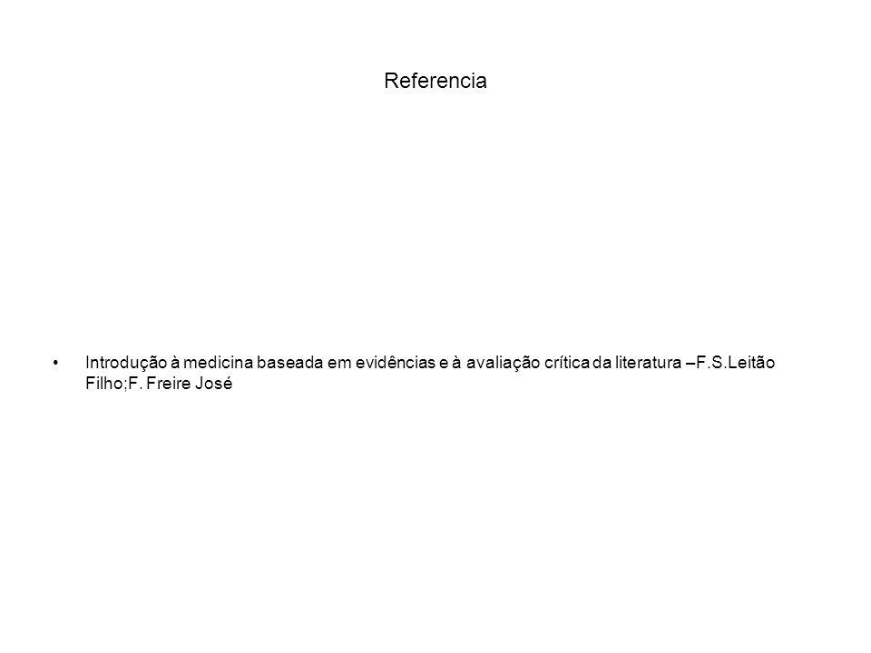 Referencia Introdução à medicina baseada em evidências e à avaliação crítica da literatura –F.S.Leitão Filho;F.
