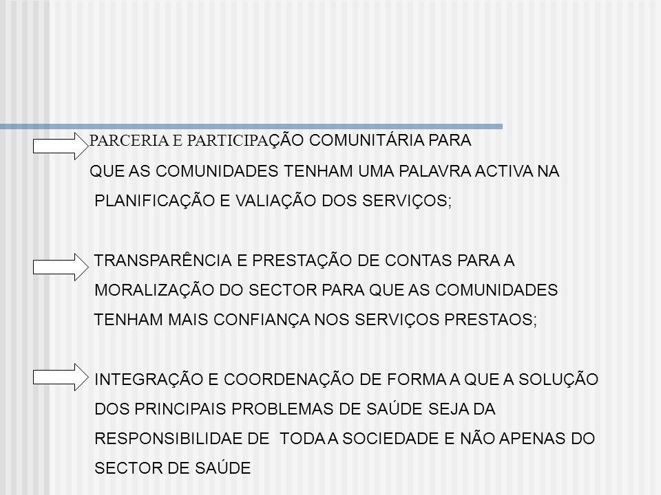PARCERIA E PARTICIPAÇÃO COMUNITÁRIA PARA