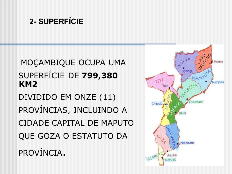2- SUPERFÍCIE MOÇAMBIQUE OCUPA UMA. SUPERFÍCIE DE 799,380 KM2. DIVIDIDO EM ONZE (11) PROVÍNCIAS, INCLUINDO A.