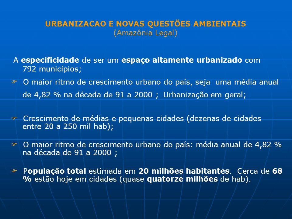 URBANIZACAO E NOVAS QUESTÕES AMBIENTAIS (Amazônia Legal)