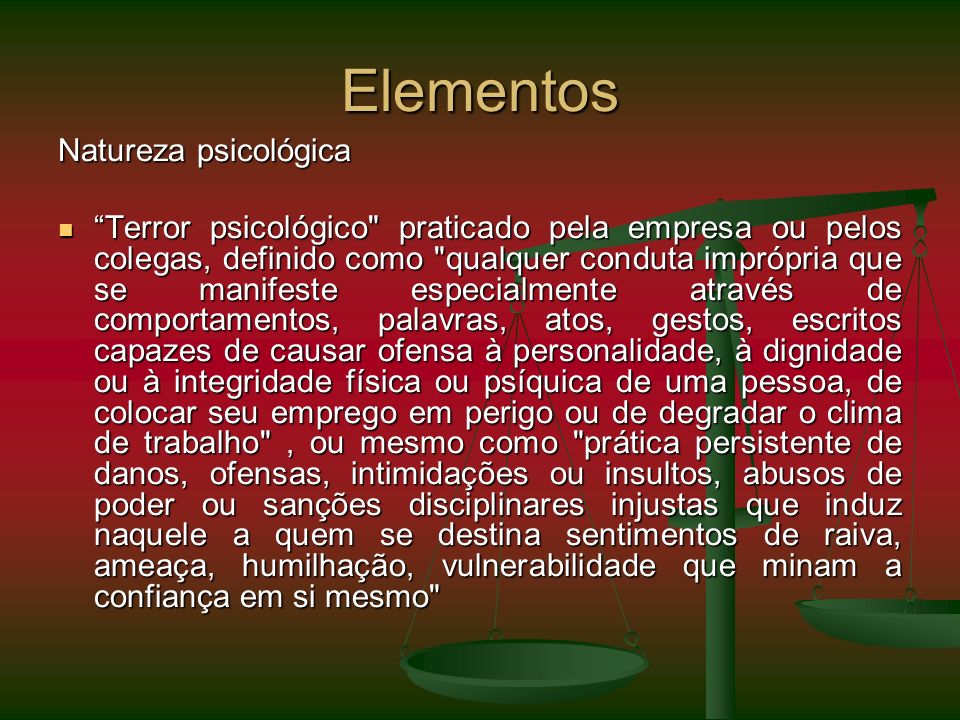 Elementos Natureza psicológica