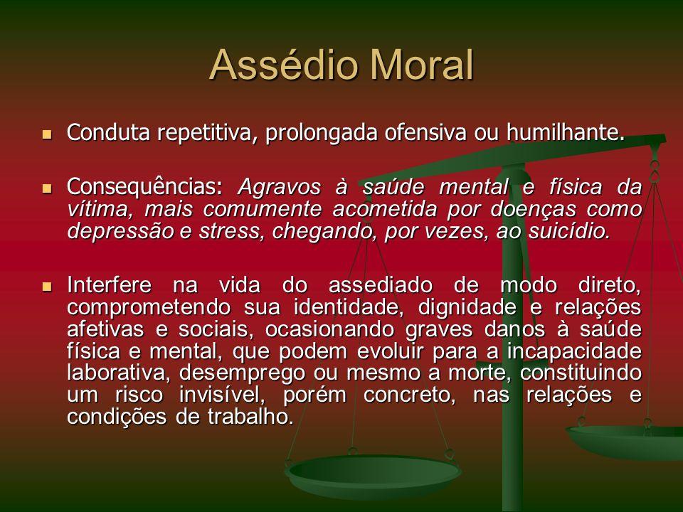 Assédio Moral Conduta repetitiva, prolongada ofensiva ou humilhante.