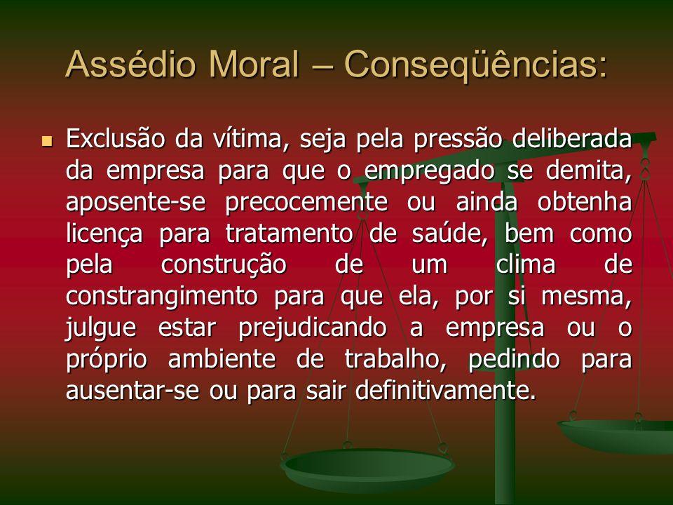 Assédio Moral – Conseqüências: