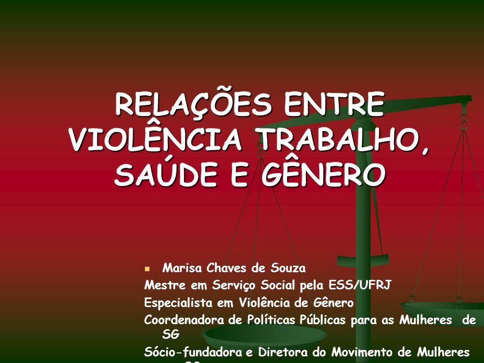 RELAÇÕES ENTRE VIOLÊNCIA TRABALHO, SAÚDE E GÊNERO