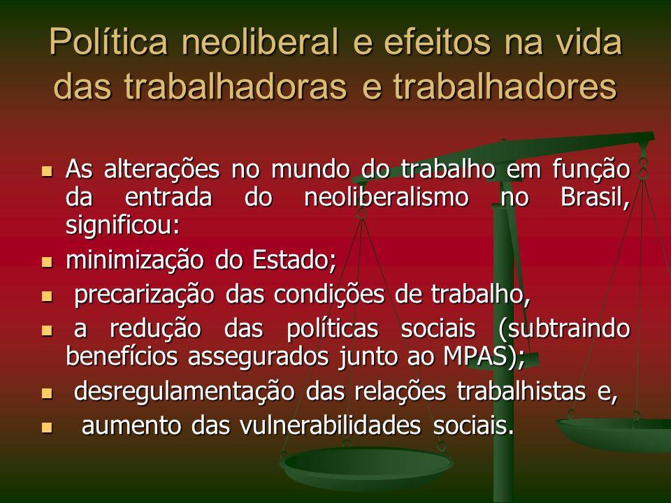 Política neoliberal e efeitos na vida das trabalhadoras e trabalhadores