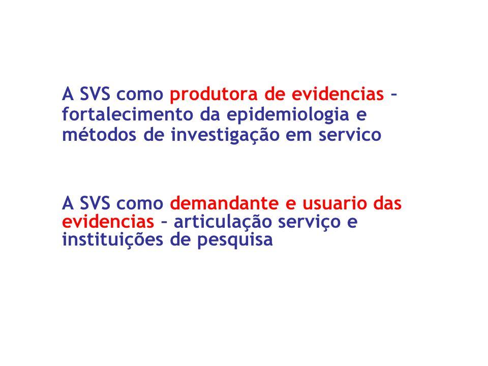A SVS como produtora de evidencias – fortalecimento da epidemiologia e métodos de investigação em servico