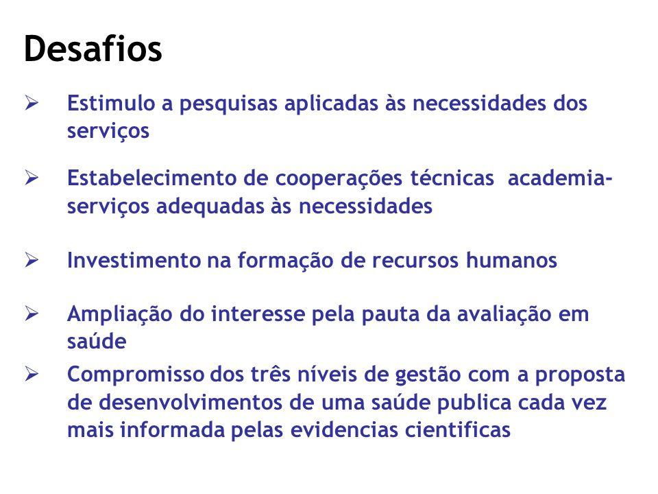 Desafios Estimulo a pesquisas aplicadas às necessidades dos serviços