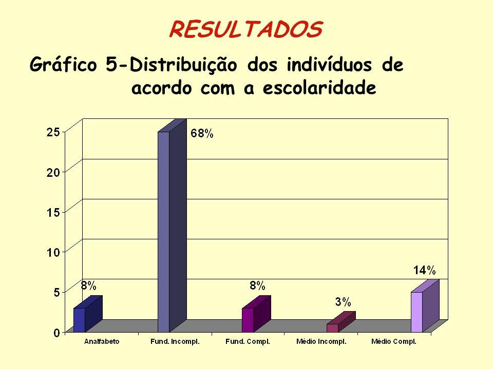 Gráfico 5-Distribuição dos indivíduos de acordo com a escolaridade
