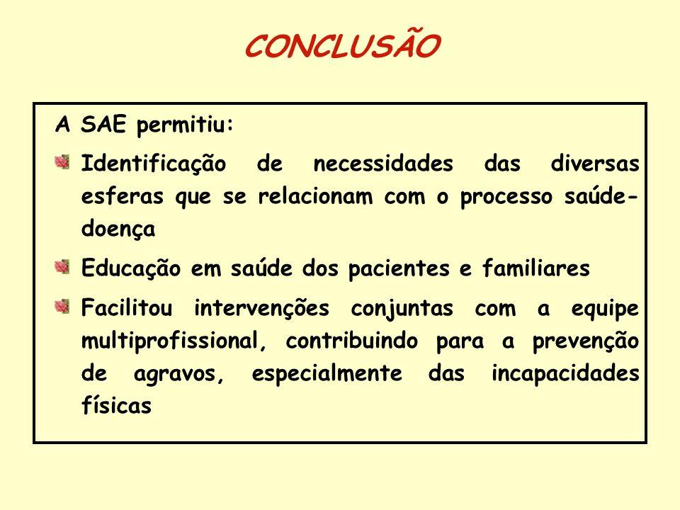 CONCLUSÃO A SAE permitiu: