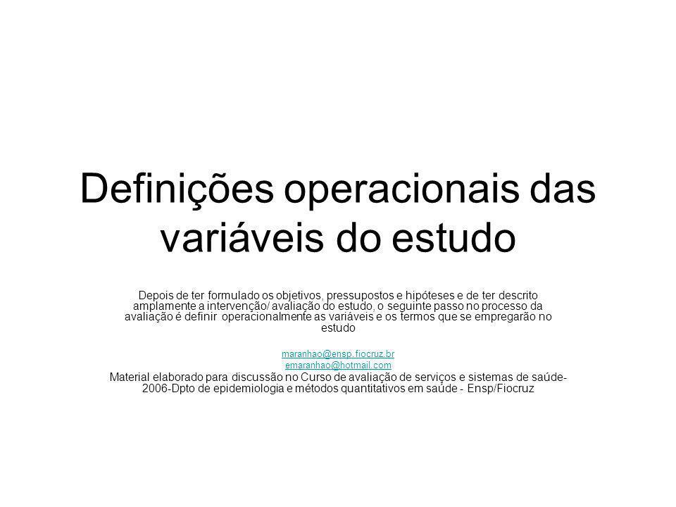 Definições operacionais das variáveis do estudo