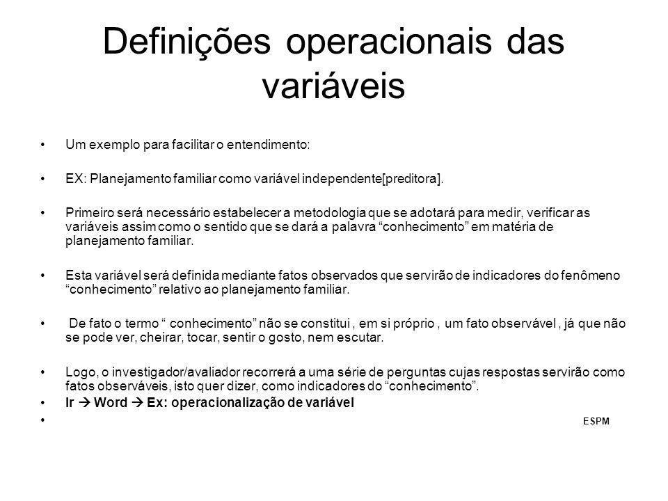 Definições operacionais das variáveis