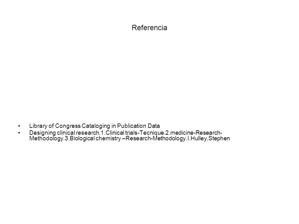 Referencia Library of Congress Cataloging in Publication Data