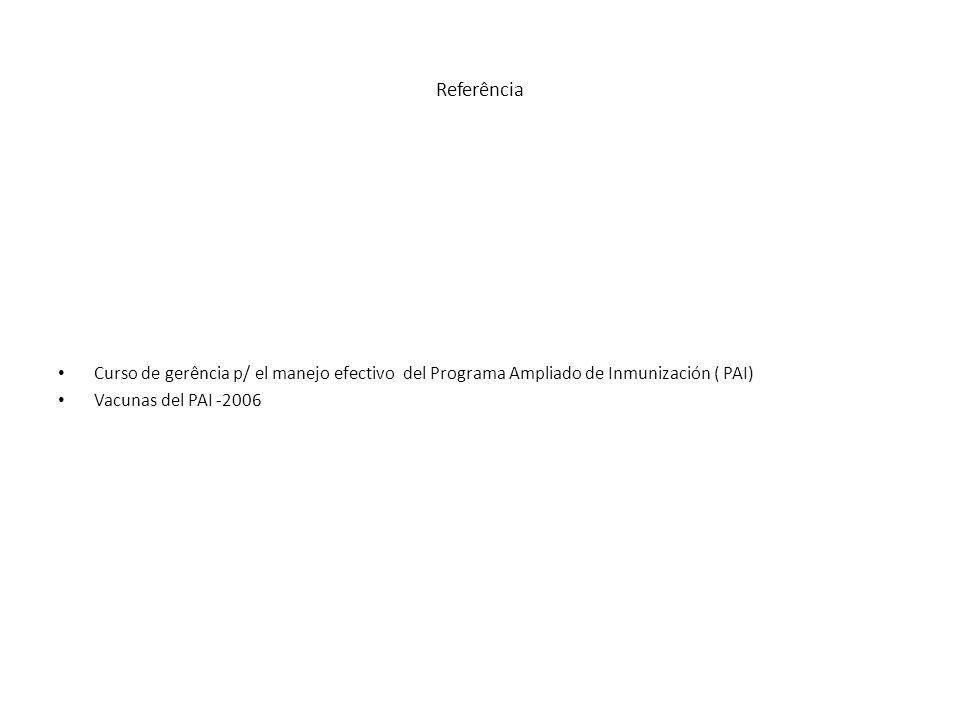 Referência Curso de gerência p/ el manejo efectivo del Programa Ampliado de Inmunización ( PAI) Vacunas del PAI -2006.