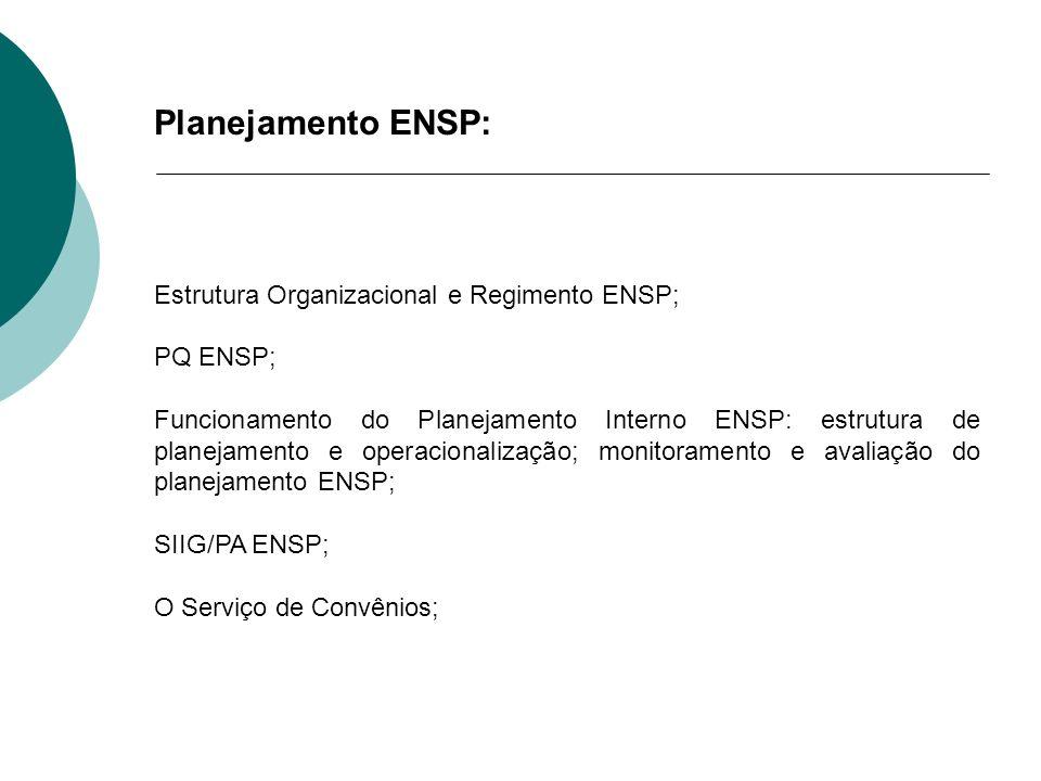 Planejamento ENSP: Estrutura Organizacional e Regimento ENSP; PQ ENSP;