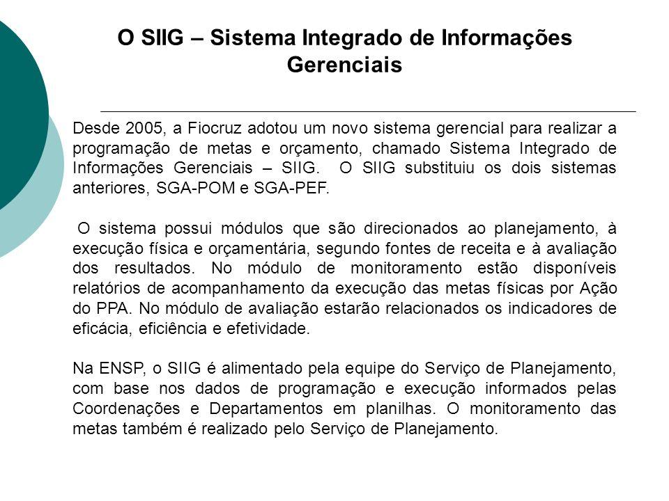 O SIIG – Sistema Integrado de Informações Gerenciais