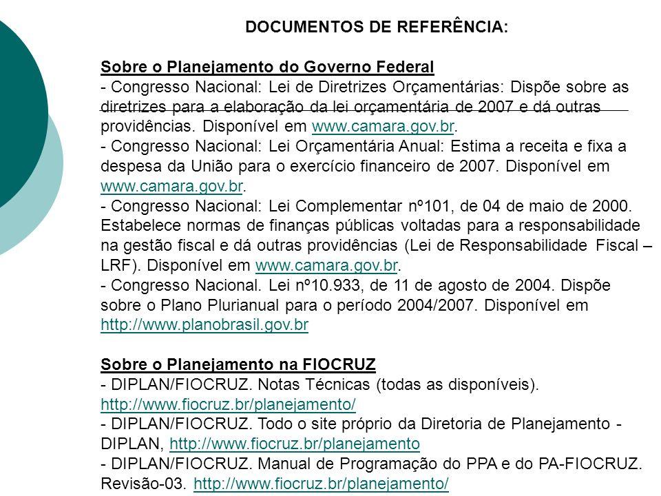 DOCUMENTOS DE REFERÊNCIA: