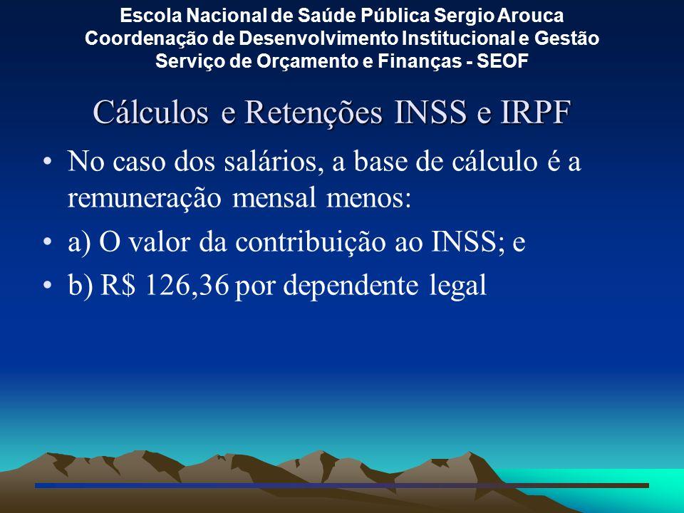Cálculos e Retenções INSS e IRPF