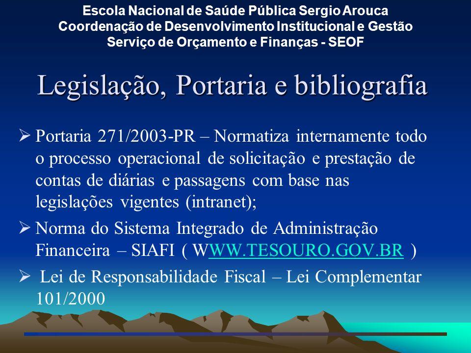 Legislação, Portaria e bibliografia