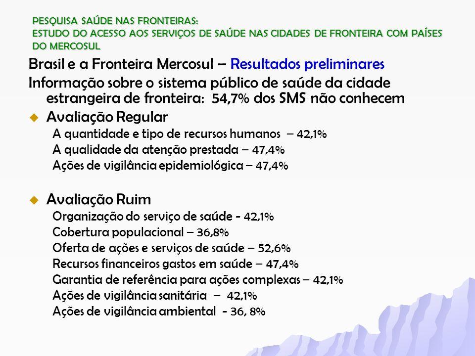 Brasil e a Fronteira Mercosul – Resultados preliminares