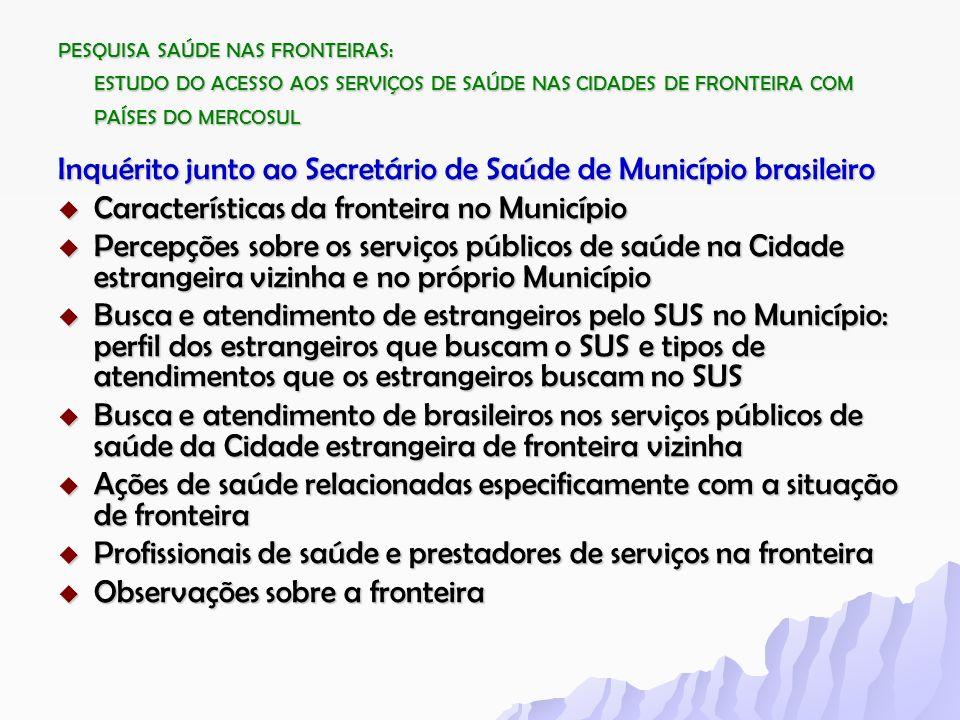 Inquérito junto ao Secretário de Saúde de Município brasileiro