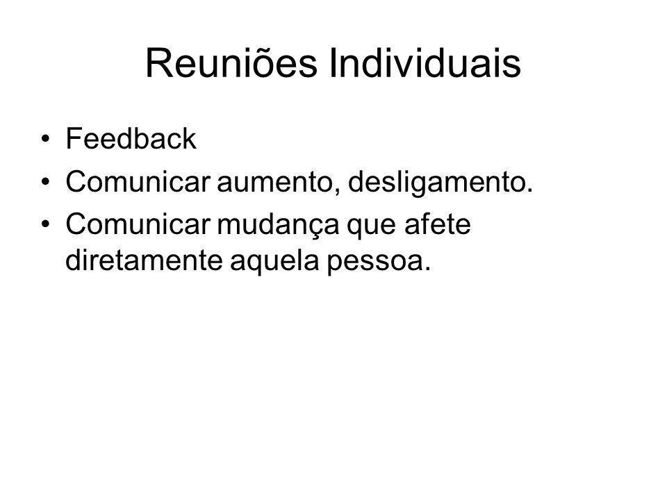 Reuniões Individuais Feedback Comunicar aumento, desligamento.