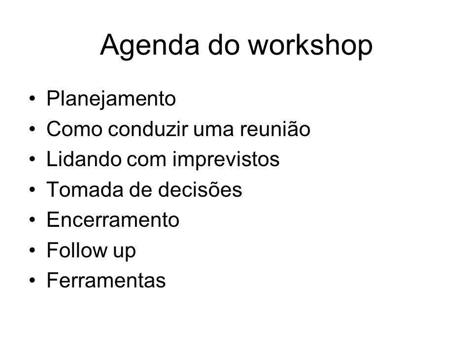 Agenda do workshop Planejamento Como conduzir uma reunião