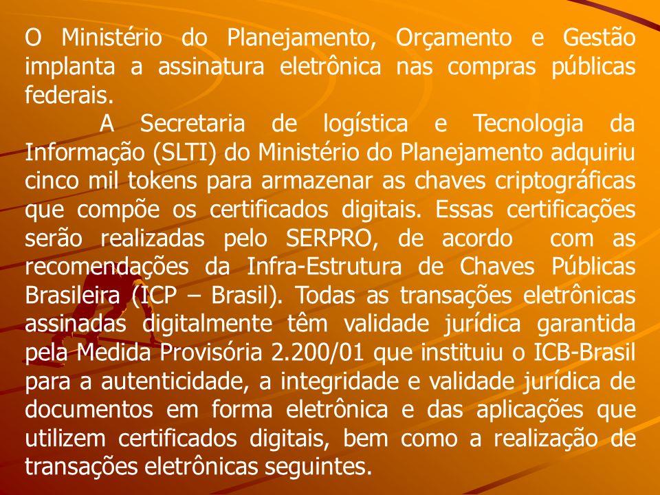 O Ministério do Planejamento, Orçamento e Gestão implanta a assinatura eletrônica nas compras públicas federais.