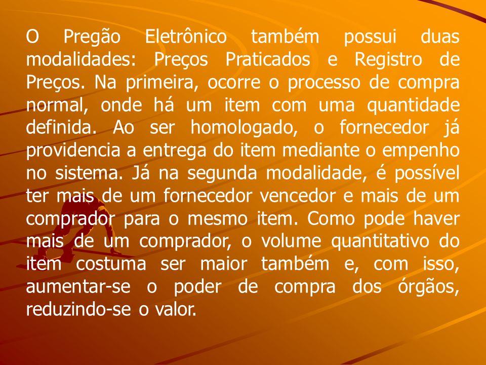 O Pregão Eletrônico também possui duas modalidades: Preços Praticados e Registro de Preços.