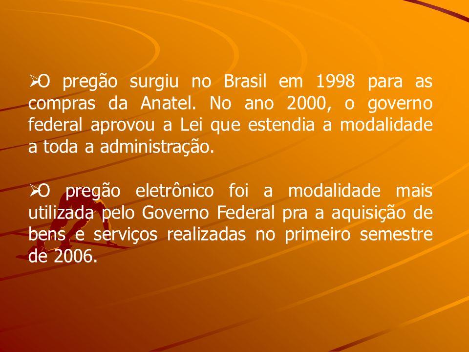 O pregão surgiu no Brasil em 1998 para as compras da Anatel