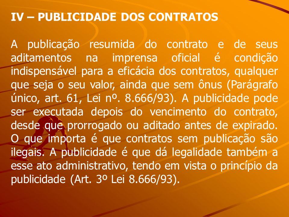 IV – PUBLICIDADE DOS CONTRATOS