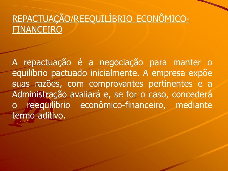 REPACTUAÇÃO/REEQUILÍBRIO ECONÔMICO- FINANCEIRO