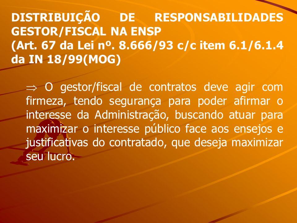 DISTRIBUIÇÃO DE RESPONSABILIDADES GESTOR/FISCAL NA ENSP