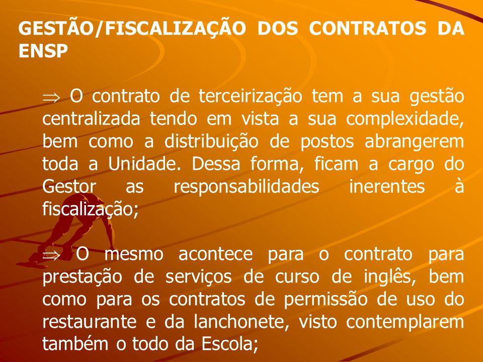 GESTÃO/FISCALIZAÇÃO DOS CONTRATOS DA ENSP