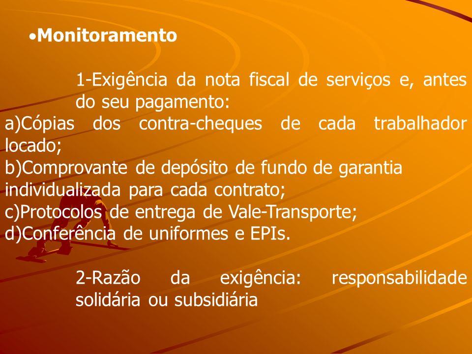 Monitoramento-Exigência da nota fiscal de serviços e, antes do seu pagamento: a)Cópias dos contra-cheques de cada trabalhador locado;