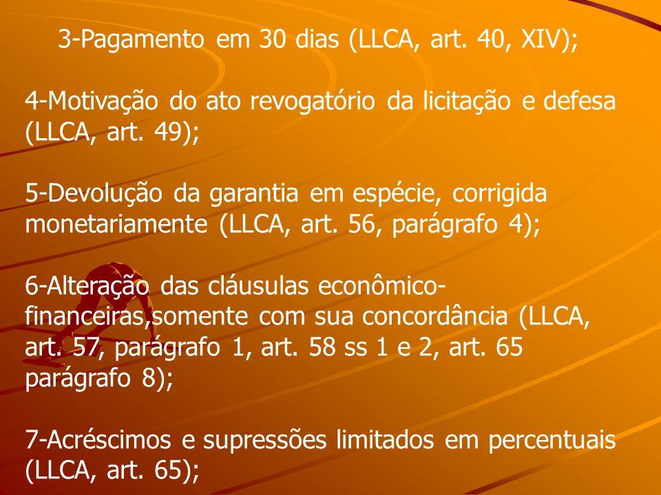 3-Pagamento em 30 dias (LLCA, art. 40, XIV);