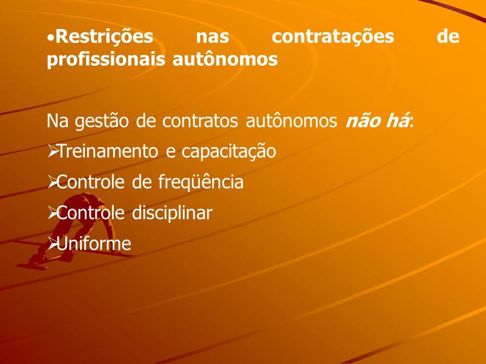 Restrições nas contratações de profissionais autônomos