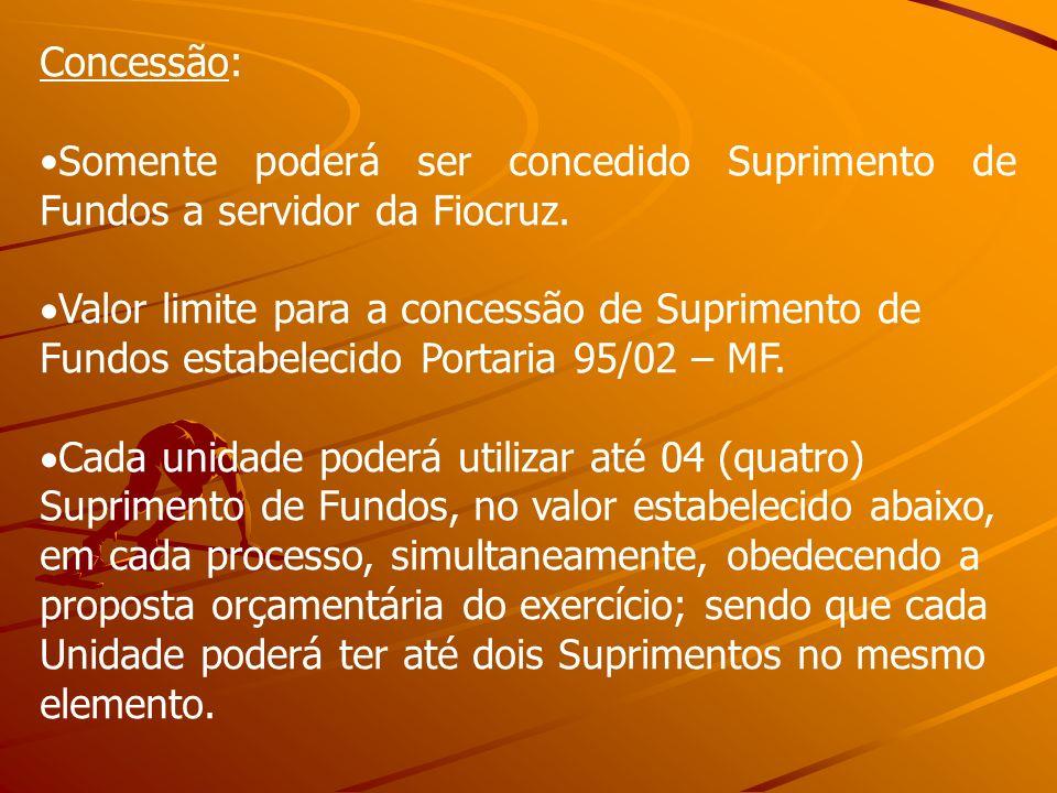 Concessão: Somente poderá ser concedido Suprimento de Fundos a servidor da Fiocruz.