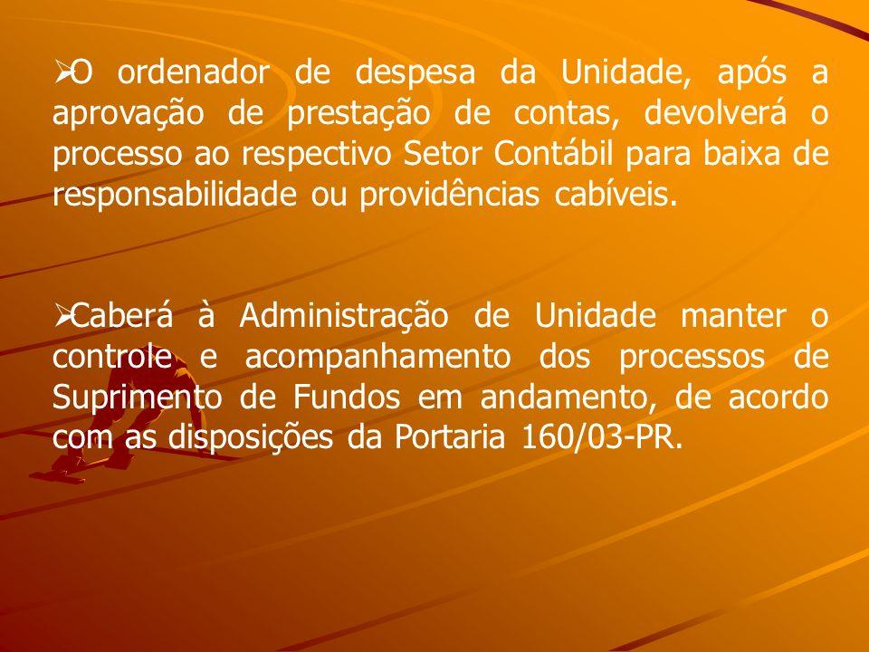 O ordenador de despesa da Unidade, após a aprovação de prestação de contas, devolverá o processo ao respectivo Setor Contábil para baixa de responsabilidade ou providências cabíveis.