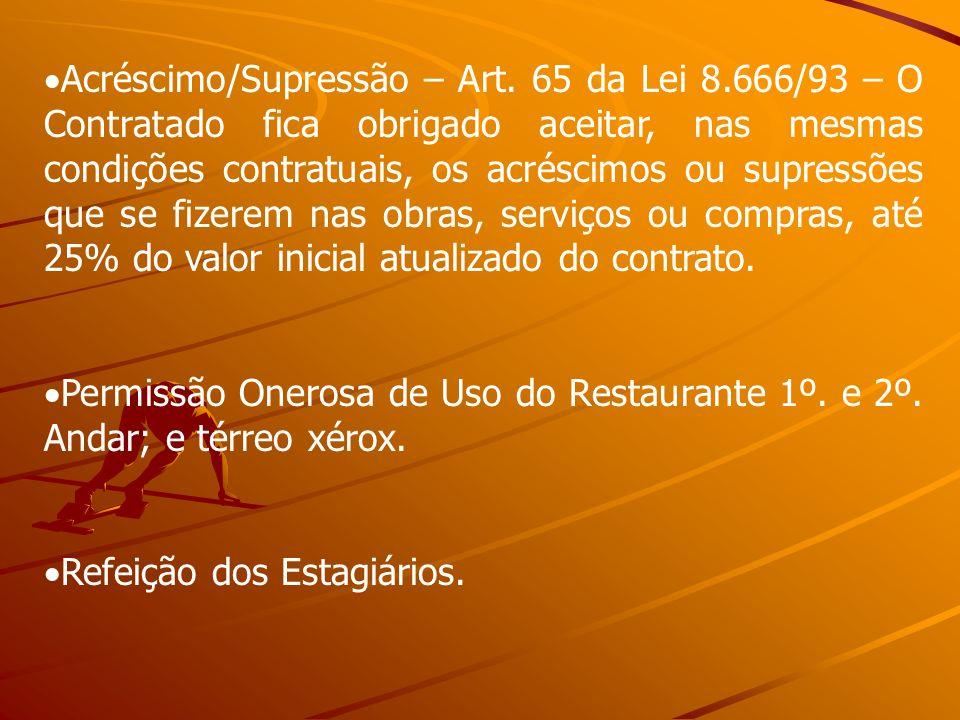 Acréscimo/Supressão – Art. 65 da Lei 8