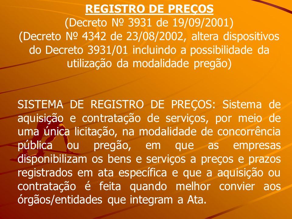 REGISTRO DE PREÇOS(Decreto № 3931 de 19/09/2001)